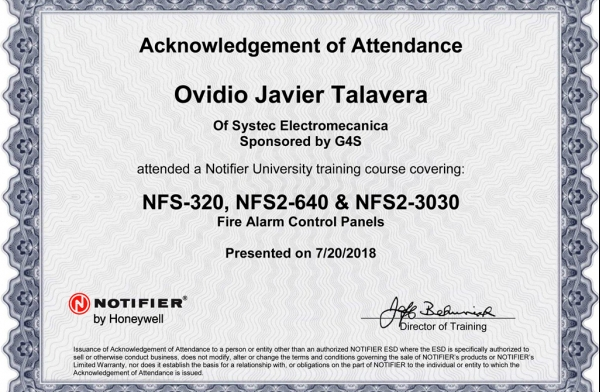 Certificación Notifier by Honeywell